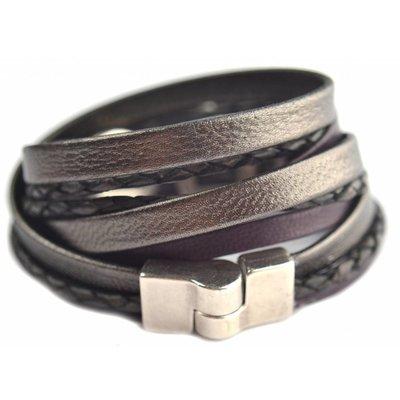 Drie dubbele armband met leer en schuivers