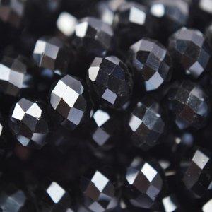 Zwart Rondel zwart hematiet 8x6mm - 35 stuks