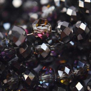 Zwart Rondel crystal black metallic 8x6mm - 35 stuks