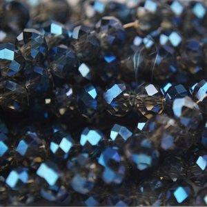 Blauw Rondel grijs blauw shine 8x6mm - 35 stuks