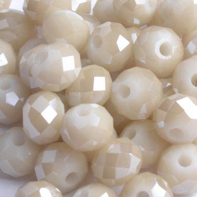 Bruin Glaskraal facet rondel beige shine 6x4mm - 45 stuks