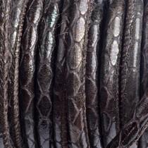 Bruin Stitched leer PQ donker bruin metallic snake 6mm - per cm