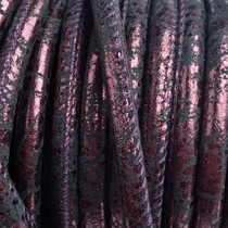 Paars Stitched leer PQ zwart paars metallic 6mm - per cm