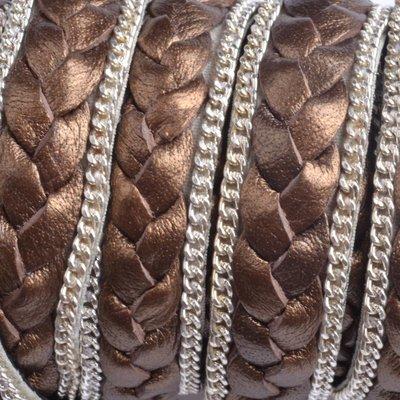 Bruin Plat gevlochten met ketting brons 13x2mm - prijs per cm