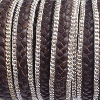 Bruin Plat gevlochten met ketting bruin 10x2mm - prijs per cm