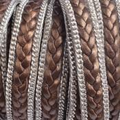 Bruin Plat gevlochten met ketting brons 10x2mm - prijs per cm
