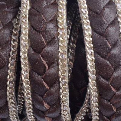 Bruin Plat gevlochten met ketting bruin 13x2mm - prijs per cm