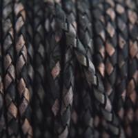 Zwart Rondgevlochten leer antiek zwart 3mm - 60cm