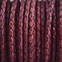 Roze Rondgevlochten leer vintage magenta 3mm - 60cm