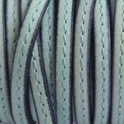 Blauw Plat leer stiksel aqua groen 5x2mm - prijs per cm