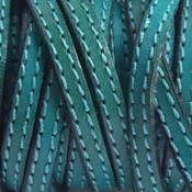 Groen Plat leer met dubbel stiksel smaragd groen 5x2mm - prijs per cm