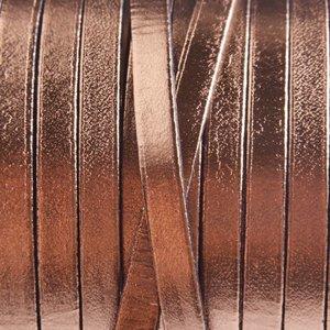 Rosegoud Plat leer metallic rosegoud 5x2mm - prijs per cm