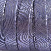 Blauw Plat nappa leer swirls metallic blue 10x1.5mm - prijs per cm
