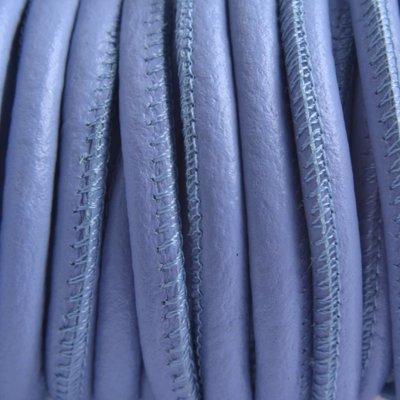 Blauw Stitched nappa PQ leer rond lavendel 4mm - prijs per cm