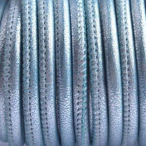 Blauw Stitched nappa PQ leer rond aqua metallic 4mm - prijs per cm