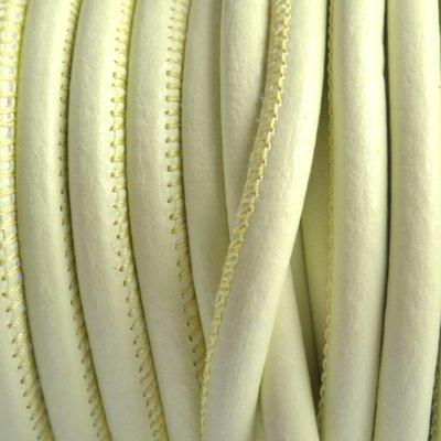 Groen Stitched nappa PQ leer rond licht lime 4mm - prijs per cm