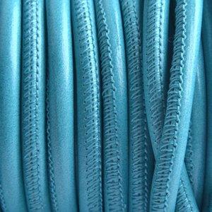 Blauw Stitched nappa PQ leer rond aqua blauw 4mm - prijs per cm