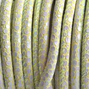 Groen Stitched nappa PQ leer rond dots lime grijs 4mm - prijs per cm