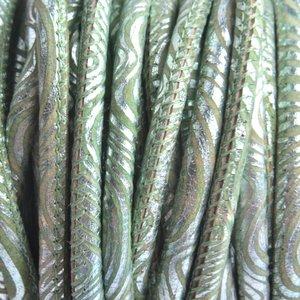 Groen Stitched nappa PQ leer rond lime metallic 4mm - prijs per cm