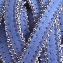Blauw Plat leer met ballchain lavendel blauw 10x2mm - prijs per cm