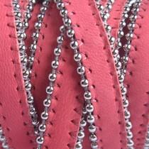 Roze Plat leer met ballchain koraal roze 10x2mm - prijs per cm