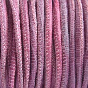Roze Stitched nappa PQ leer rond reptiel roze 2.5mm - prijs per cm