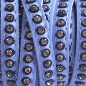 Blauw Leer met swarovski lavendel blauw 6x2mm - prijs per cm