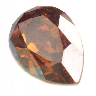 Bruin Swarovski druppel crystal copper 14x10mm