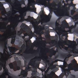 Bruin Glaskraal rond facet nut hematiet 10mm - 5 stuks