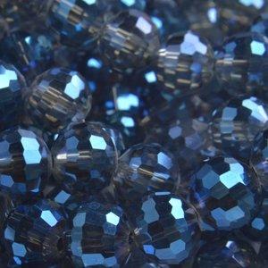 Blauw Glaskraal rond facet blue grey shine 10mm - 5 stuks