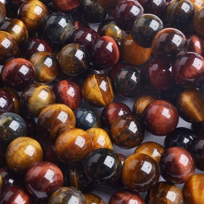 Bruin Tijgeroog half edelsteen rond verschillende tinten 8mm
