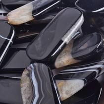 Zwart Agaat plat ovaal zwart crystal 45x20mm