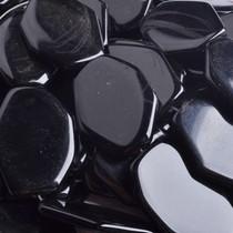 Zwart Agaat plat zwart 40x30mm