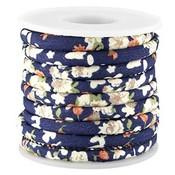 Blauw Gestikt bloemetjes donker blauw koord Ø5mm - prijs per 10cm