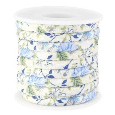 Blauw Gestikt bloemen beige licht blauw koord Ø5mm - prijs per 10cm