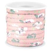 Roze Gestikt bloemetjes antique pink koord Ø5mm - prijs per 10cm