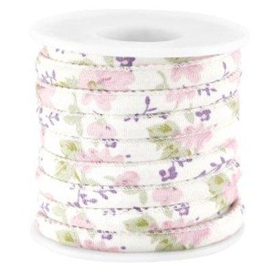 Roze Gestikt bloemetjes roze violet koord Ø5mm - prijs per 10cm