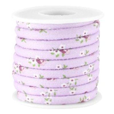 Paars Gestikt bloemetjes violet koord Ø5mm - prijs per 10cm