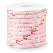 Roze Gestikt bloemetjes roze koord Ø5mm - prijs per 10cm
