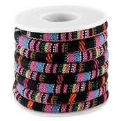 Multicolor Aztec koord Zwart roze 6mm - prijs per 10cm