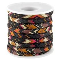 Multicolor Aztec koord Zwart bruin 6mm - prijs per 10cm