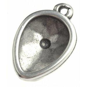 Zilver Hanger druppel Zilver DQ voor swarovski 14x10mm