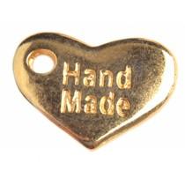 Goud Bedel hart 'handmade' Goud DQ 15x10mm