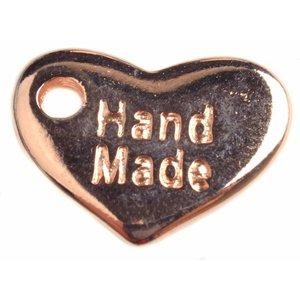 Rosegoud Bedel hart 'handmade' Rosegoud DQ 15x10mm