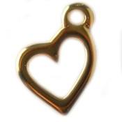 Goud Bedel hartje metaal goud DQ 19x14mm