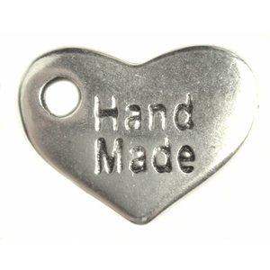 Zilver Bedel hart 'handmade' Zilver DQ 15x10mm