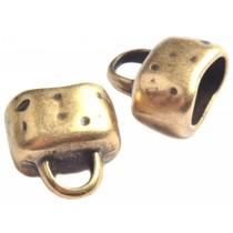 Antiek Goud Brons Eindkap ovaal Ø10x6mm Brons DQ