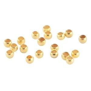 Goud Knijpkralen Goud DQ 2mm - 40 stuks