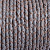 Grijs Rondgevlochten leer grijs 3mm - prijs per 20cm