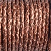 Bruin Rondgevlochten leer metallic copper 3mm - prijs per 20cm